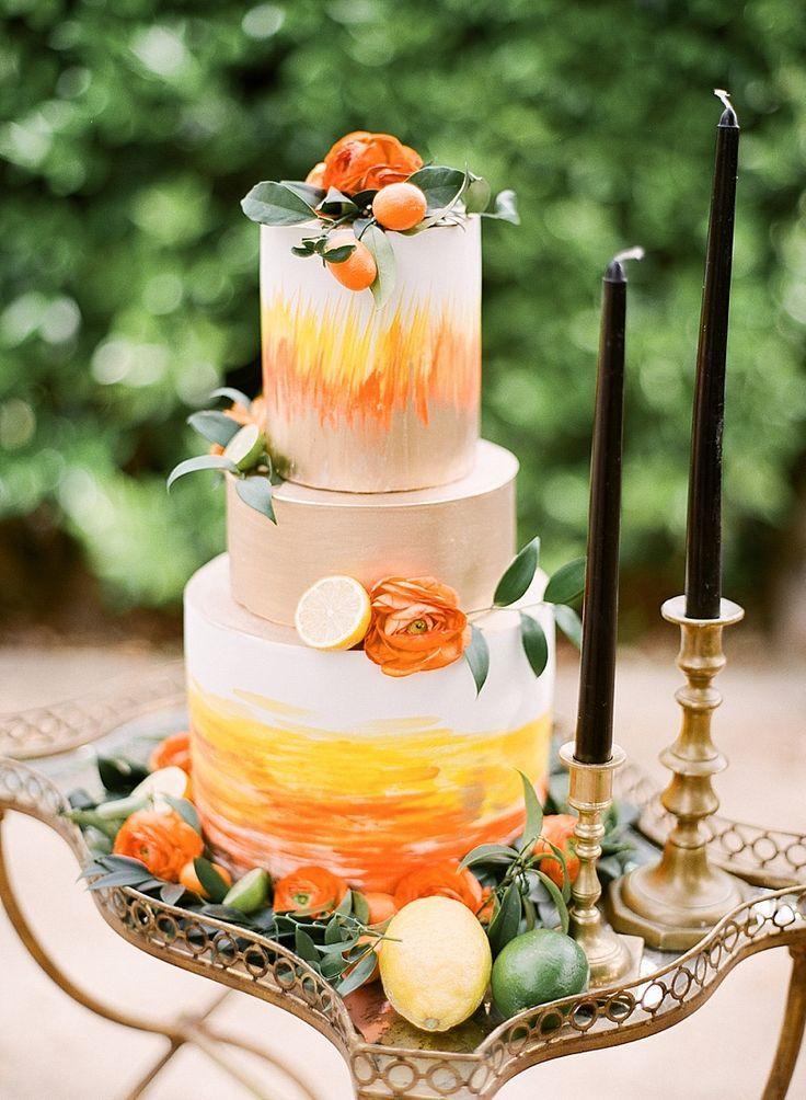 свадебный торт с акварельным риунком