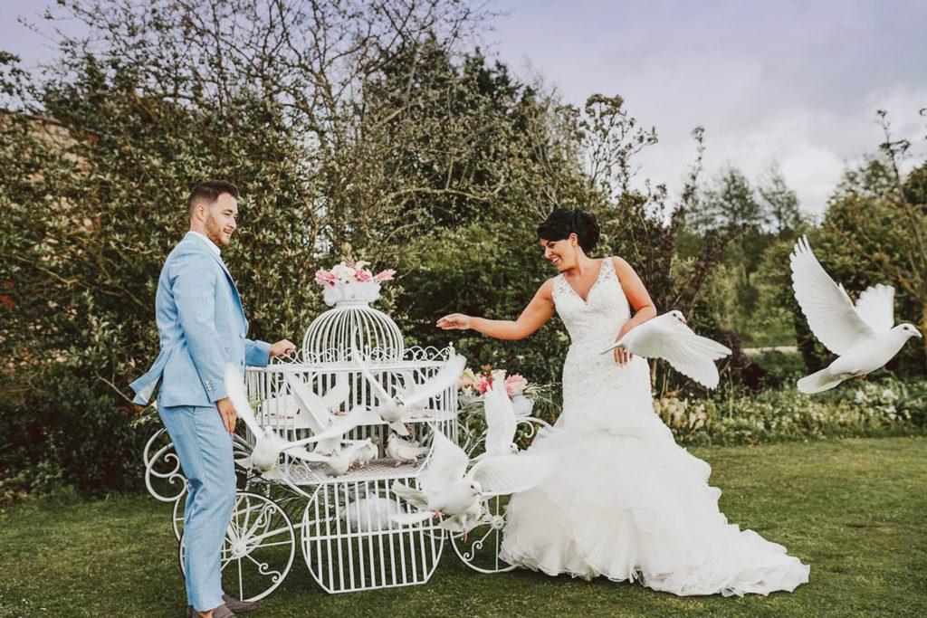 выпуск свадебных голубей