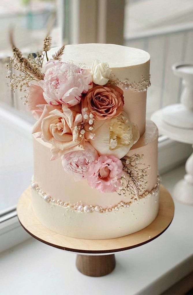 свадебный торт с жемчугом